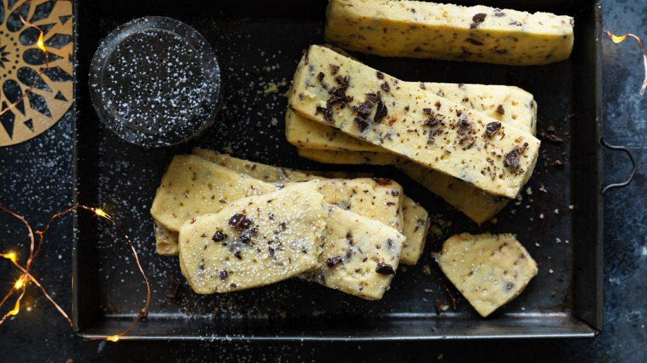 Dan Lepard's chocolate-chip macadamia shortbread.