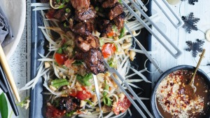 Neil Perry's grilled pork skewers.