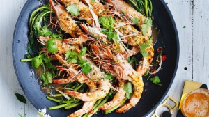 BBQ king prawns with black pepper sauce.