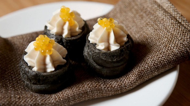 Whipped cod roe puffs.