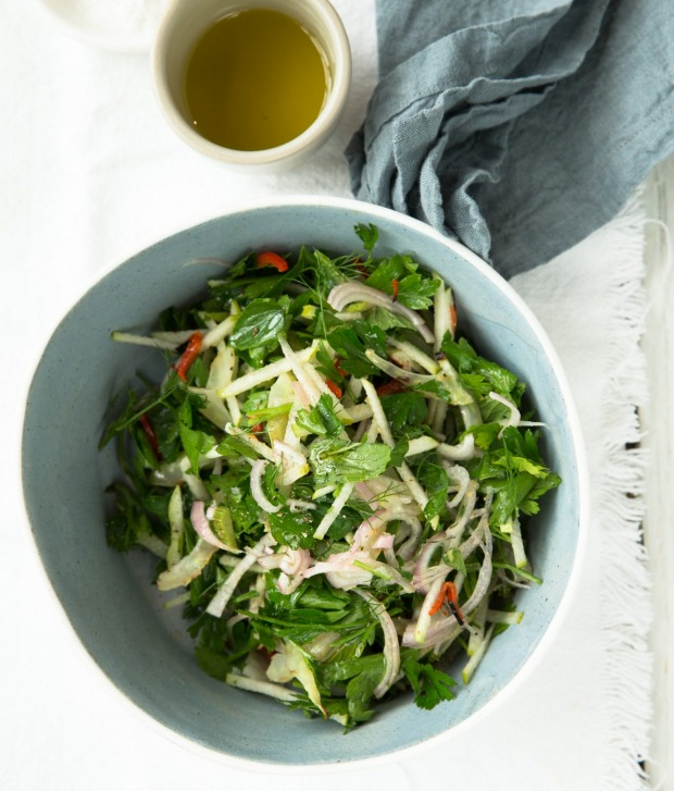 Pear and charred fennel salad with a hint of chilli.