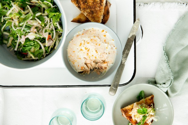 Three Blue Ducks' pork rillettes with pear and fennel salad <a ...