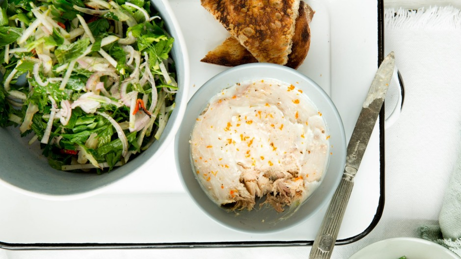 Snack attack: The Blue Ducks' pork rillettes pictued with crunchy pear and fennel salad.