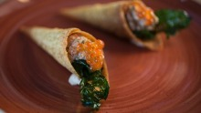 Paprika cones with mackerel brandada are a cute, not-so-traditional tapas idea that works at Born by Tapavino.