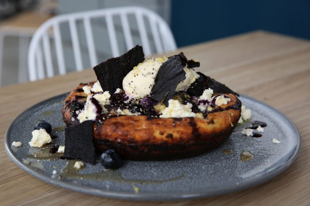 Buttermilk hotcake with shards of blueberry 'leather' at Moby 3143 in Armadale.
