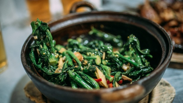 Gai lan with shrimp paste and dried shrimps from Tai Chung Wah.