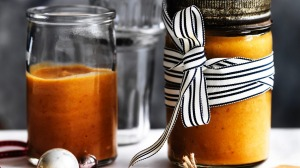 Adam Liaw's peach and plum barbecue sauce.