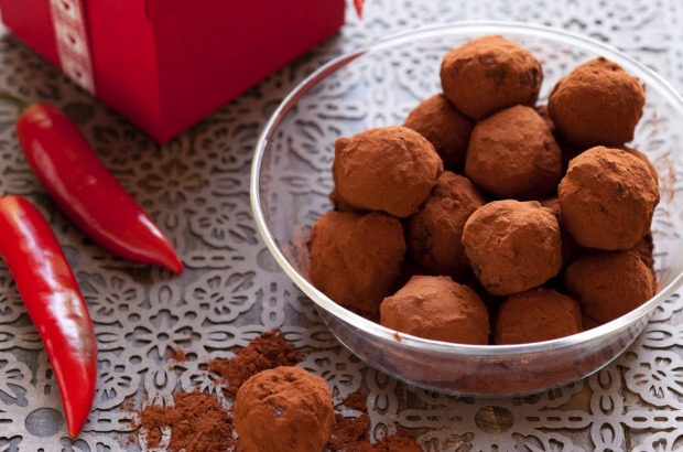 "Chilli choc truffles <a href=""http://www.goodfood.com.au/recipes/chilli-choc-truffles-20120213-29u32""><b>(Recipe ..."
