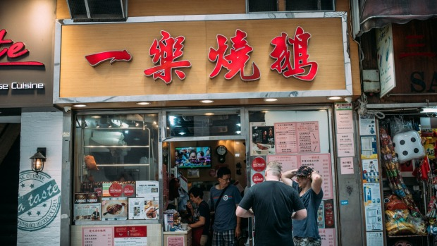 """""""The world's best roast goose restaurant with one Michelin star,"""" says Hogarth about Yat Lok."""