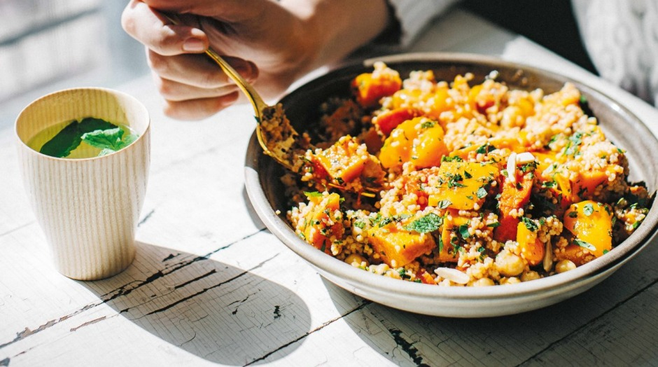 'Neighbourghood': Chermoula roasted orange and vegetables with chickpeas and cous cous.