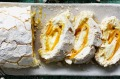 Rachel Khoo's coconut, lime and mango pavlova roulade for Christmas.