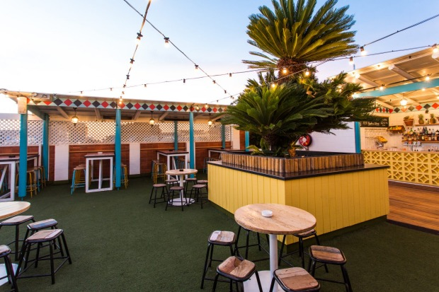 Bowling club vibes at Rocket Rooftop Bar, Adelaide.
