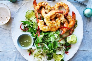 Matt Moran's Christmas barbecued prawns with nam jim dressing.