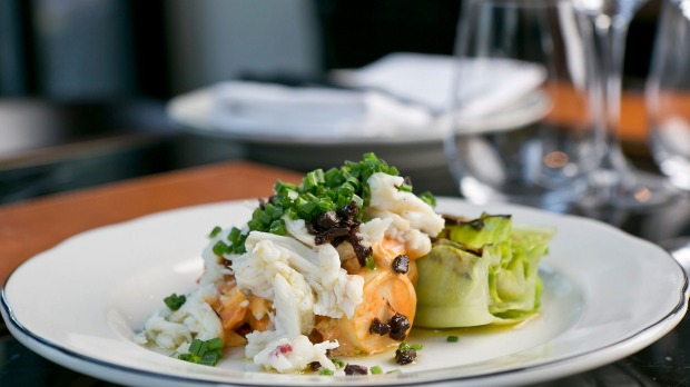 The wood-fired crab salad with charred cos lettuce.