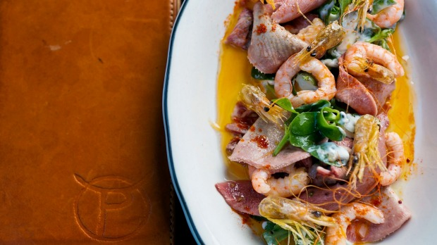 """A veal tongue and prawn dish seems confusing, but turns out to be """"revelatory""""."""