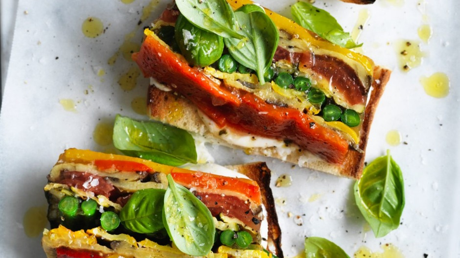 Adam Liaw's vegetable terrine on Turkish toast with whipped ricotta.