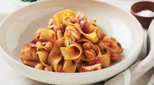 Egg pappardelle with cod, chickpeas and arrabbiata sauce for Barilla campaign for Good Food.