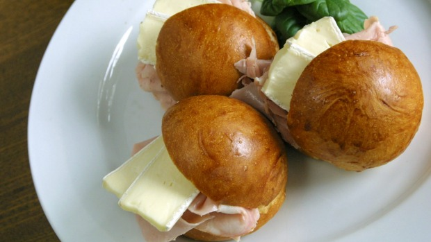 Milk rolls with brie and ham at Il Fornaio.