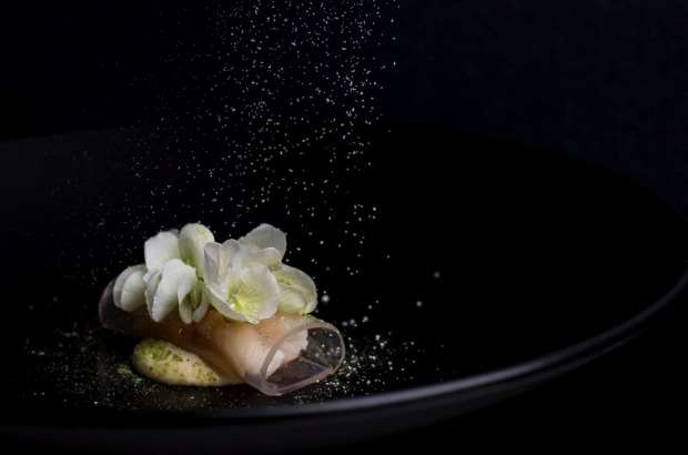 Spanner crab, sake vinegar jelly, brown butter emulsion, pea flower and horseradish served at Sepia in Sydney.
