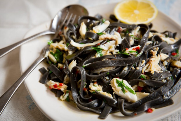 Frank Camorra's squid ink fettuccine with crab and chilli <a ...