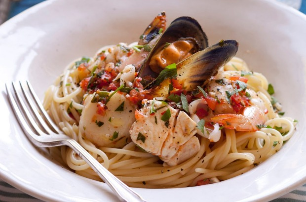 Pasta marinara packed full of summer seafood <a ...