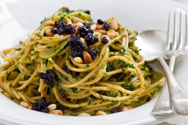 Vegetarian spaghettini with zucchini, mint, pinenuts and pecorino <a ...