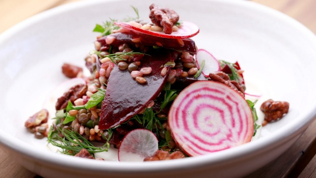 Roasted Bloody Beetroots salad with lentils, rye and barley.