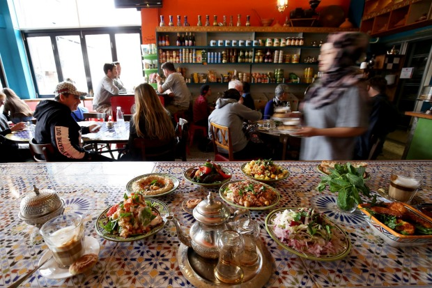 Feast on a banquet and try a nous-nous coffee (half espresso, half milk) at Moroccan Deli-cacy in Brunswick East.