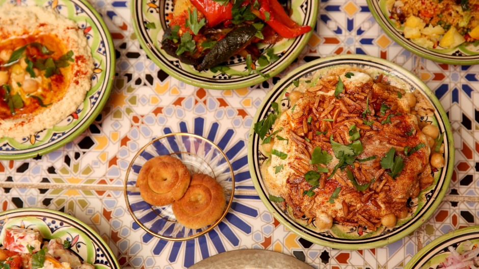 A selection of banquet dishes.