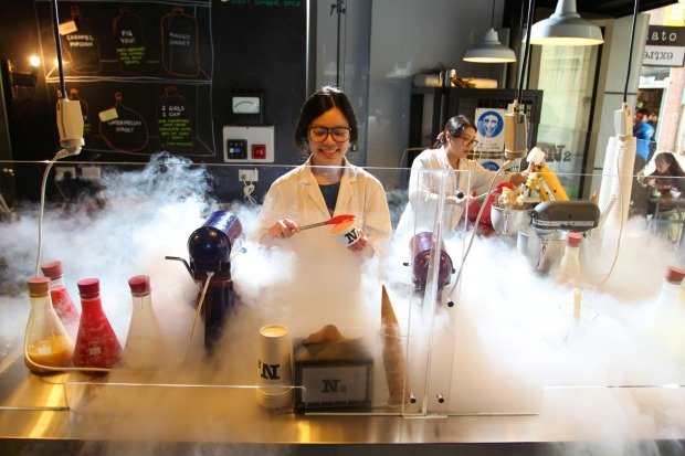 We still get a kick from watching teams in lab coats and goggles whip up ice-cream to order at N2 Extreme Gelato.