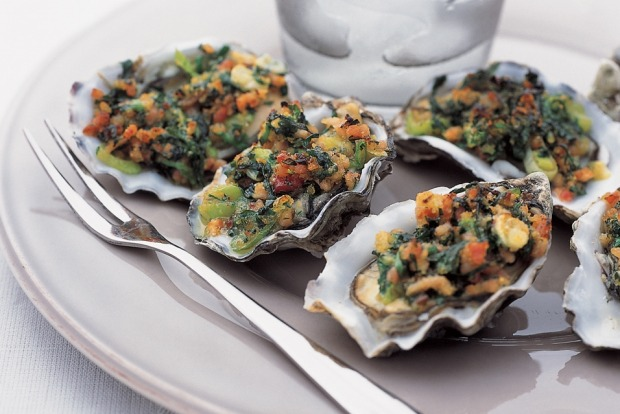 "Oysters Rockefeller with bacon, spinach and onion. <a href="" ..."