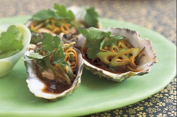 "Asian style oysters with coriander. <a href=""http://www.goodfood.com.au/recipes/asian-oysters-20131031-2wj8i""><b>(Recipe ..."