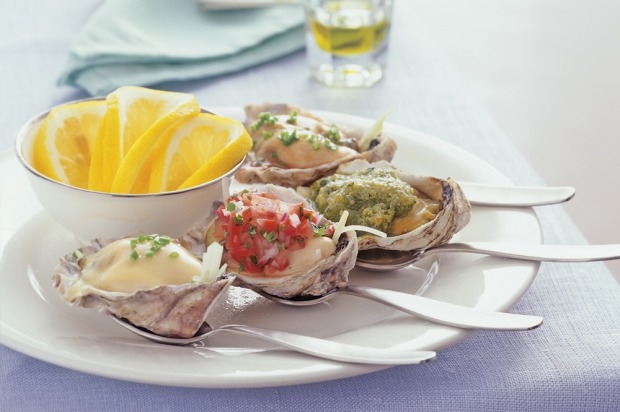 "Champagne oysters. <a href=""http://www.goodfood.com.au/recipes/champagne-oysters-20131101-2wp9o""><b>(Recipe here).</b></a>"