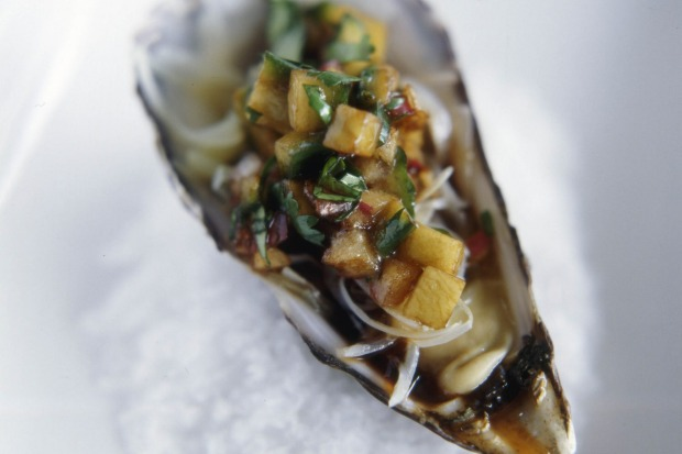 Oyster with cucumber salsa. <a ...