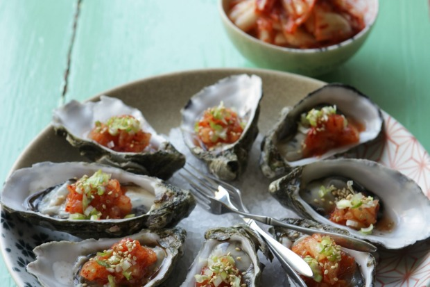 Oysters with quick spicy kimchi. <a ...