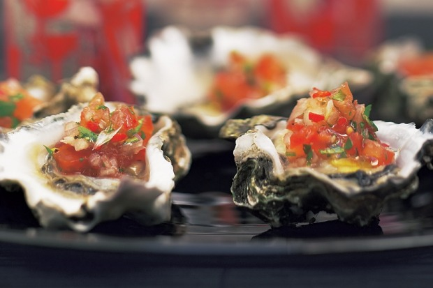 Tomato, chilli and coriander oysters. <a ...