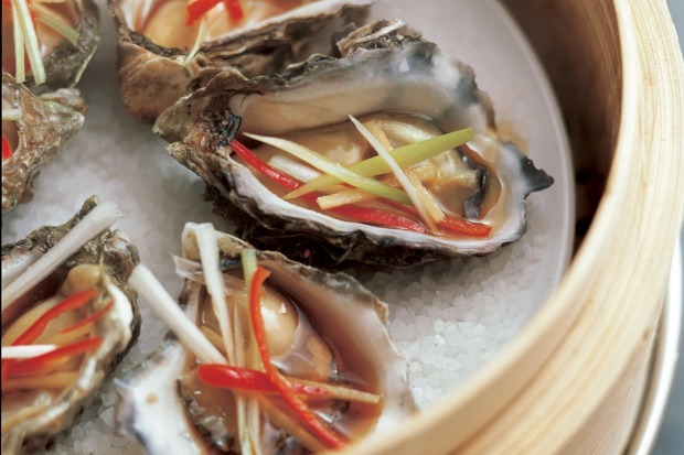 Steamed oysters with ginger and soy. <a ...