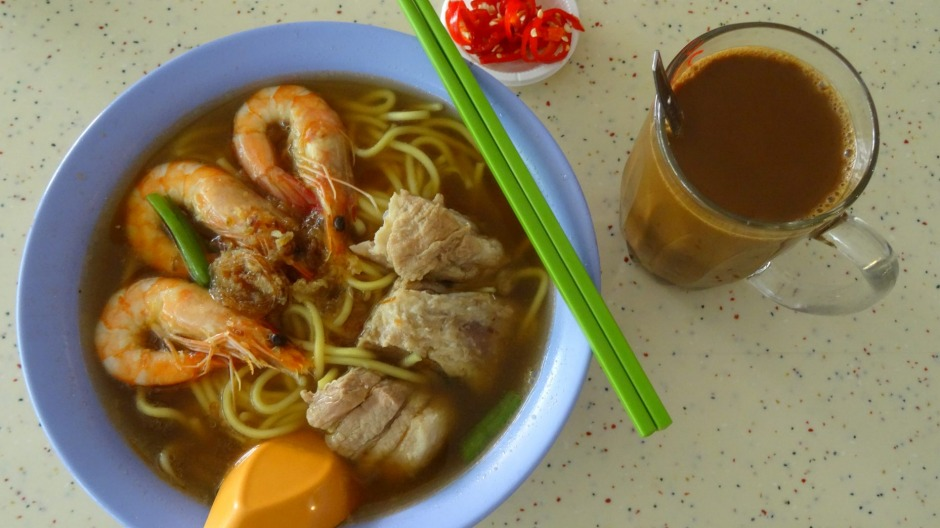 A typical breakfast at Tiong Bahru Hawker Centre.