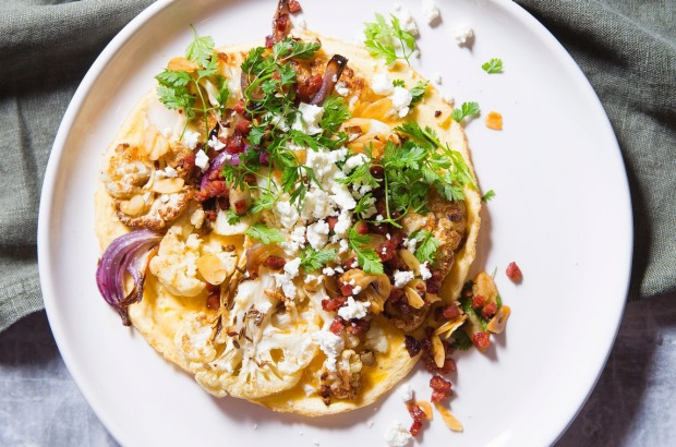 Spiced cauliflower and feta omelette with chorizo and almond dressing. <a ...