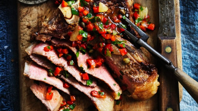 Neil Perry's barbecued t-bone with red pepper and lemon salsa.