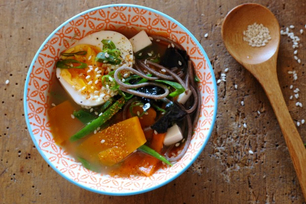 Breakfast miso with eggs, snow peas and sesame seeds. <a ...
