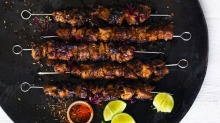 Adam Liaw's take on chuan'r - spicy, charred lamb skewers.
