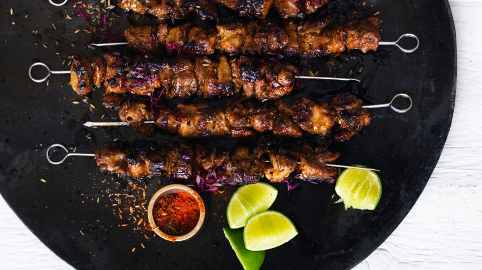 Spicy, charred Chinese-inspired skewers.