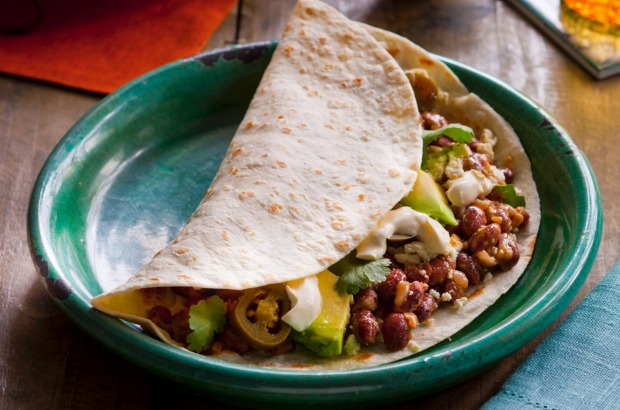 Breakfast baleadas with red beans, avo and feta. <a ...