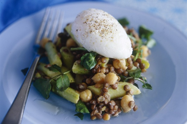 Asparagus and lentil salad with poached egg. <a ...