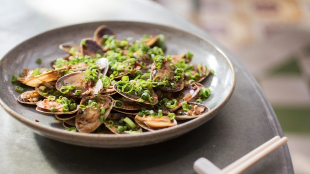 Pipis doused in garlicky black bean sauce from the Queen Chow kitchen.