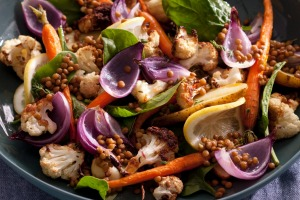 Roast vegetable and lentil salad.