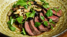 Japanese style: Wagyu rump cap with mushroom and Japone sauce.