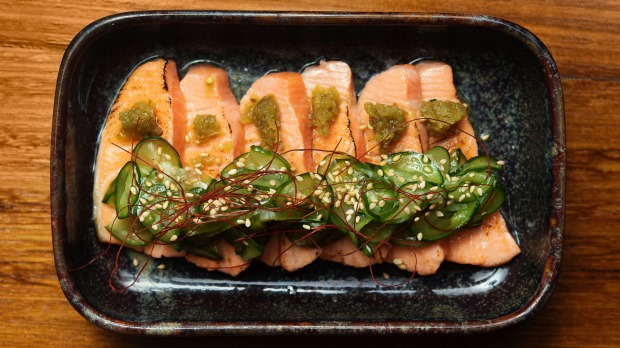 Aburi salmon, jalapeno and pickled cucumber.