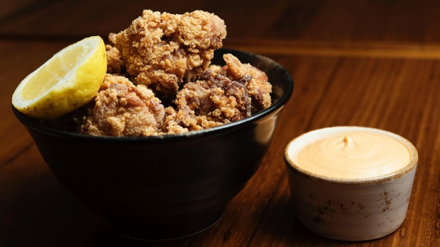 Karaage chicken and chilli mayo at Osaka Trading Co. in Forest Lodge.